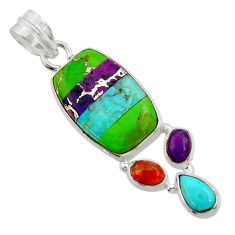 925 sterling silver 12.58cts multi color copper turquoise pendant jewelry d44957