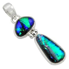 925 sterling silver 13.67cts multi color dichroic glass fancy pendant r39872