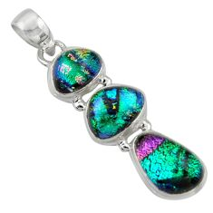 925 sterling silver 14.45cts multi color dichroic glass pendant jewelry r39844