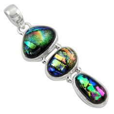 925 sterling silver 16.85cts multi color dichroic glass pendant jewelry r39848