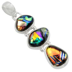 925 sterling silver 16.49cts multi color dichroic glass pendant jewelry r39856