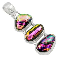 925 sterling silver 15.53cts multi color dichroic glass pendant jewelry r39860