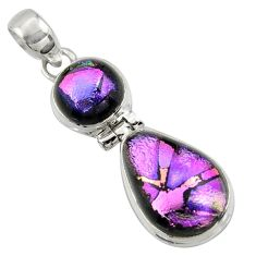 925 sterling silver 14.47cts multi color dichroic glass pendant jewelry r39880