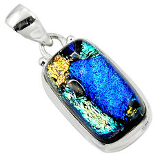 925 sterling silver 14.72cts multi color dichroic glass pendant jewelry r49949