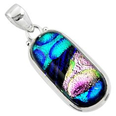 925 sterling silver 17.22cts multi color dichroic glass pendant jewelry r49953