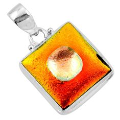 925 sterling silver 15.05cts multi color dichroic glass pendant jewelry r49960