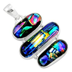 925 sterling silver 25.00cts multi color dichroic glass pendant jewelry r50880