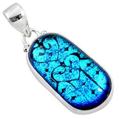 925 sterling silver 14.23cts multi color dichroic glass pendant jewelry r50912