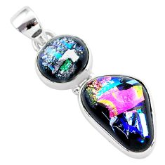 925 sterling silver 13.50cts multi color dichroic glass handmade pendant t1109