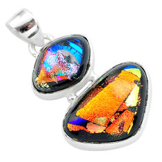 925 sterling silver 15.55cts multi color dichroic glass handmade pendant t1113