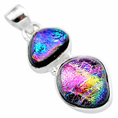 925 sterling silver 14.09cts multi color dichroic glass handmade pendant t1117