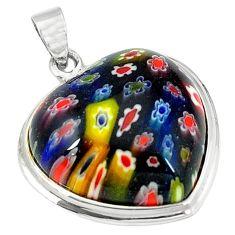 925 sterling silver multi color italian murano glass heart pendant c22484