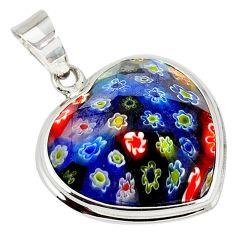 925 sterling silver multi color italian murano glass heart pendant c22499