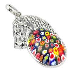 925 sterling silver multi color italian murano glass horse pendant c21624