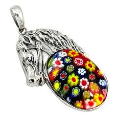 925 sterling silver multi color italian murano glass horse pendant c22477