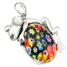925 sterling silver multi color italian murano glass pearl frog pendant c22536