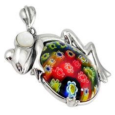 925 sterling silver multi color italian murano glass pearl frog pendant c22537