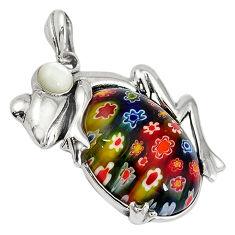 925 sterling silver multi color italian murano glass pearl frog pendant c22543