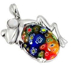 925 sterling silver multi color italian murano glass pearl frog pendant c22551