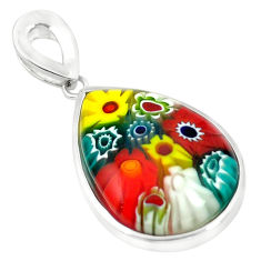 925 sterling silver multi color italian murano glass pendant jewelry c21691