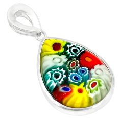 925 sterling silver multi color italian murano glass pendant jewelry c21692