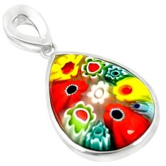 925 sterling silver multi color italian murano glass pendant jewelry c21698