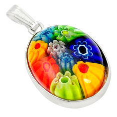 925 sterling silver multi color italian murano glass pendant jewelry c21703
