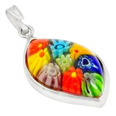 925 sterling silver multi color italian murano glass pendant jewelry c21734