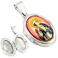925 sterling silver multi color jesus cameo oval locket pendant c22619