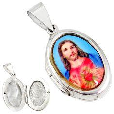 925 sterling silver multi color jesus cameo oval prayer box pendant c22657