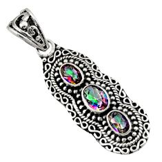Clearance Sale- 925 sterling silver 3.96cts multi color rainbow topaz pendant jewelry d44818