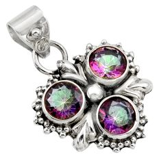 925 sterling silver 2.78cts multi color rainbow topaz pendant jewelry d47344