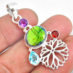 925 sterling silver 8.38cts multi color sterling opal amethyst pendant r84560
