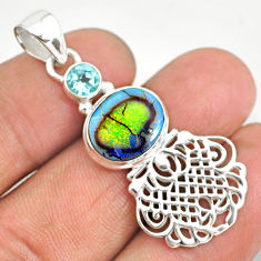 925 sterling silver 3.90cts multi color sterling opal blue topaz pendant r84593