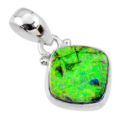 925 sterling silver 3.62cts multi color sterling opal cushion pendant r64336