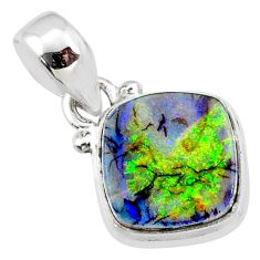 925 sterling silver 3.65cts multi color sterling opal cushion pendant r64344