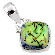 925 sterling silver 3.57cts multi color sterling opal cushion pendant r64348