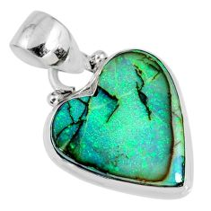 925 sterling silver 7.13cts multi color sterling opal heart pendant r58784