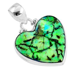 925 sterling silver 9.34cts multi color sterling opal heart pendant r70114