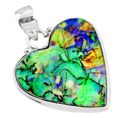 925 sterling silver 11.69cts multi color sterling opal heart pendant r70118