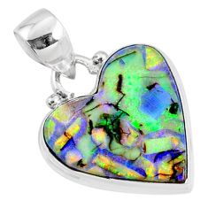 925 sterling silver 8.35cts multi color sterling opal heart pendant r70143