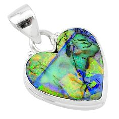 925 sterling silver 6.52cts multi color sterling opal heart pendant t13764