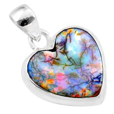 925 sterling silver 6.61cts multi color sterling opal heart pendant t45231