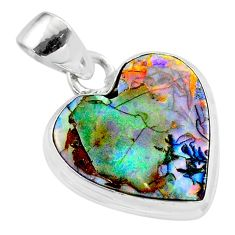 925 sterling silver 6.59cts multi color sterling opal heart pendant t45239