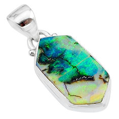925 sterling silver 4.26cts multi color sterling opal hexagon pendant t13664