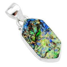 925 sterling silver 4.89cts multi color sterling opal hexagon pendant t13700