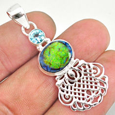 925 sterling silver 4.21cts multi color sterling opal oval topaz pendant r84600