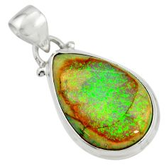 925 sterling silver 10.30cts multi color sterling opal pear pendant r25287