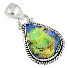 925 sterling silver 6.88cts multi color sterling opal pear pendant r58831