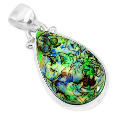 925 sterling silver 7.66cts multi color sterling opal pear shape pendant r92530